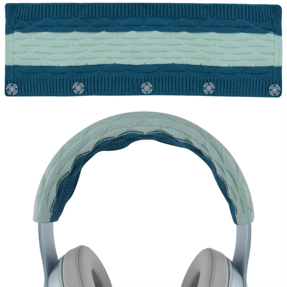 Geekria Sweater Knitting Headphone Headband, Compatible with Beats Solo 3, Solo 2 Wireless Headphones / Stretchable Knit Fabric Headband Cover / Comfortable Protector Sleeve (Pop Blue)