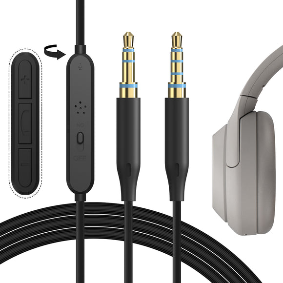 Geekria QuickFit Audio Cable with Mic for SONY WH-1000XM4, 1000XM3, XB900N, CH710N, CH700N, MDR-XB950B1 / 3.5mm Replacement Stereo Cord with Microphone Control and Volume Control (Black 5.6FT)