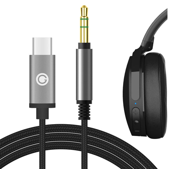 Geekria Apollo Upgrade USB-C Digital to Audio Cable for Skullcandy HESH 3, HESH 2, Grind, Venue, Crusher, Crusher Wireless, Aviator Headphones, Type-C Replacement Stereo Cord (Black, 5.6FT)