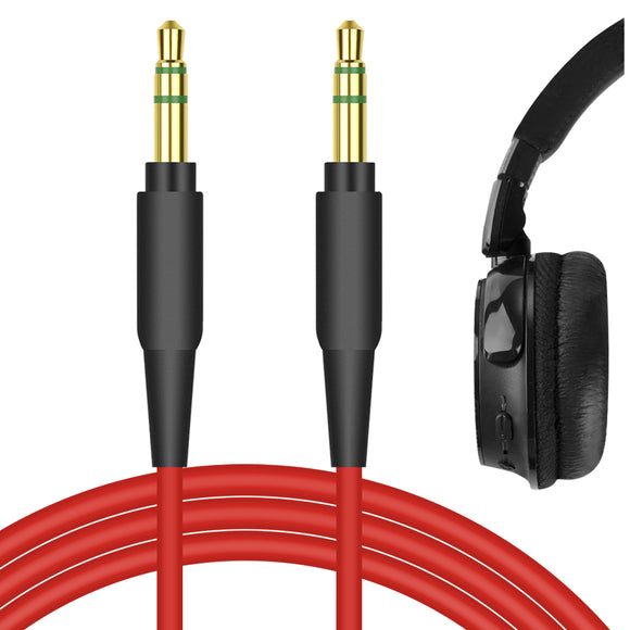 Geekria QuickFit Audio Cable Compatible with Jabra REVO, Move Style Edition, Elite 85h, Philips X2HR, SHP9500, SHP6000, SHP9500S Headphones Cable, 3.5mm AUX Replacement Stereo Cord (Red 5.6FT)