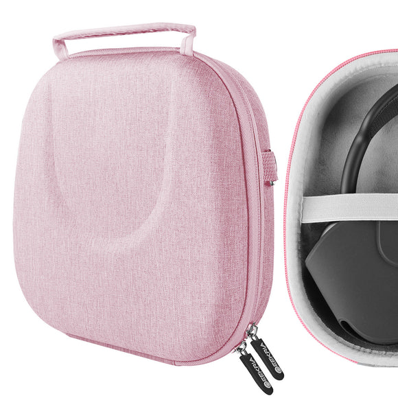 Geekria UltraShell Case for AirPods Max Headphones, Replacement Protective Hard Shell Travel Carrying Bag with Room for Smart Case and Accessories Storage (Pink)