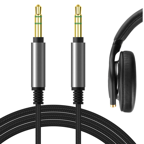 Geekria Apollo Upgrade Audio Cord for SONY WH-XB900N, MDR-1AM2, MDR-XB950BT, MDR-XB950N1, MDR-XB950B1, WH-1000XM2, WH-1000XM3, 1000XM4 Headphones, 3.5mm Replacement Stereo Cable (Black 5.6FT)