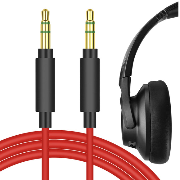 Geekria QuickFit Audio Cable Compatible with Anker Soundcore Life Q20, Life Q10, Life 2 Active, Vortex, 059, H8, H9, H16, H17 Headphones Cable, 3.5mm AUX Replacement Stereo Cord (Red 5.6 FT)