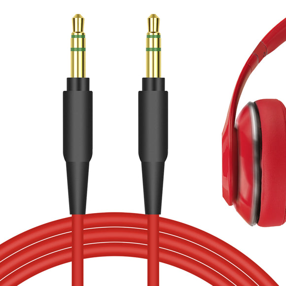 Geekria QuickFit Stereo Cord for Beats Solo3.0, Solo2.0, Solo1.0, Studio3, Studio2, Studio, Executive, Pro, Mixr Headphones Cable, 3.5mm AUX Replacement Audio Cable (Red 5.6FT)