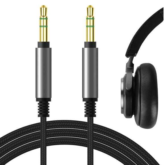 Geekria QuickFit Audio Cable for Bowers & Wilkins PX7, PX5, PX, Bang & Olufsen H95, H9i, H8i, H9 3rd Gen, H8 Headphones Cable, 3.5mm AUX Replacement Stereo Cord (Black 5.6FT)