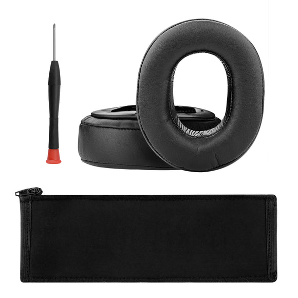 Geekria Earpad Replacement for Sony MDR-HW700, MDR-HW700DS Headphone / Ear Cushion + Sony MDRHW700, MDRHW700DS Headband Protector Cover / Earpads, Headband Protective Sleeve Repair Parts (Black)