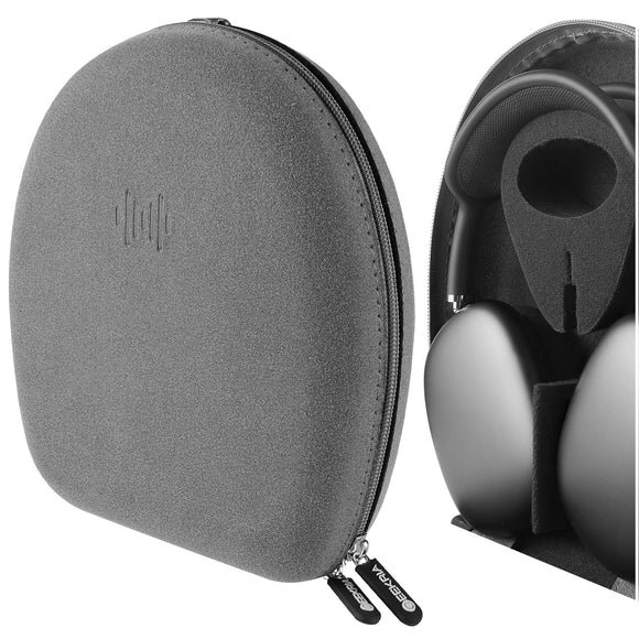 Geekria UltraShell Case, Compatible with AirPods Max Headphones, Will Make Headphones Into Sleep Mode Immediately, Replacement Protective Hard Shell Travel Carrying Bag with Cable Storage (Grey)