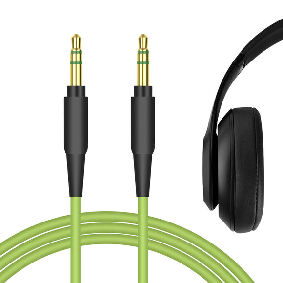 Geekria QuickFit Audio Cable for Beats Solo1.0, Solo2.0, Solo3.0, Studio2, Studio3, Executive, Mixr, Pro Headphones Cable, 3.5mm AUX Replacement Stereo Cord (Green 5.6FT)