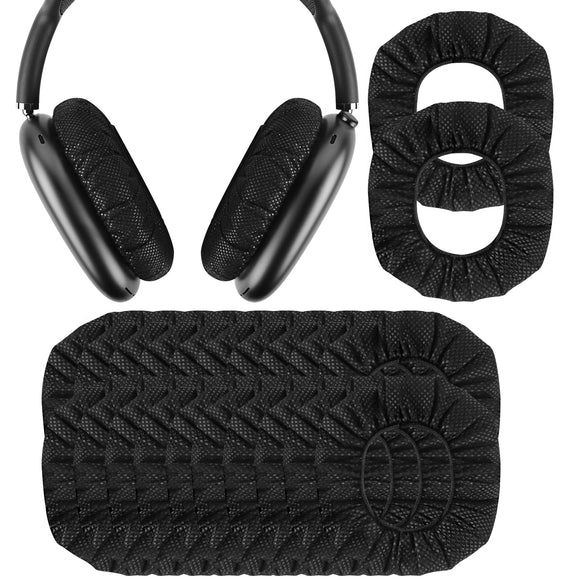 Geekria 30 Pairs Disposable Earpad Covers Compatible with AirPods Max, Earphone Covers / EarPads Protectors / Headphone Covers / Stretchable Sanitary Earcup, Fits 3.74 Inches Headphones (Black)