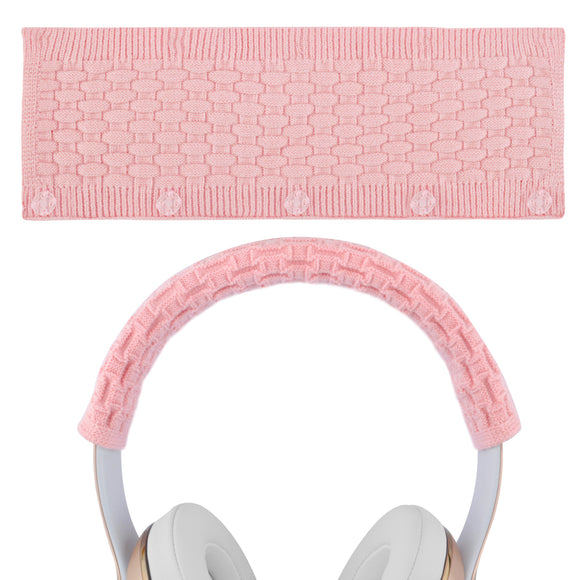 Geekria Sweater Knitting Headphone Headband, Compatible with Beats solo3, solo2, Studio3, Studio2 Headphones / Stretchable Knit Fabric Headband Cover / Comfortable Protector Sleeve (Milky Pink)