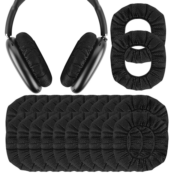 Geekria 100 Pairs Disposable Earpad Covers for AirPods Max, Earphone Covers / Ear Pads Protectors / Headphone Covers / Stretchable Sanitary Earcup, Fits 3.14 - 4.33 Inches Earpads Headsets (Black)