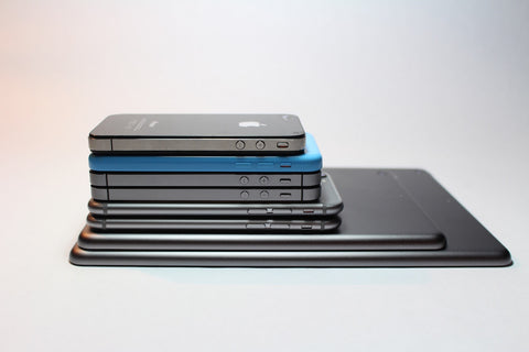 iPhones stacked
