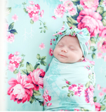 Mom and Me Outfits Posh Peanut Aqua Floral Double Sided Swaddle Headband Set