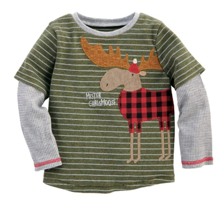 Boys Buffalo Check Christmas Moose Shirt