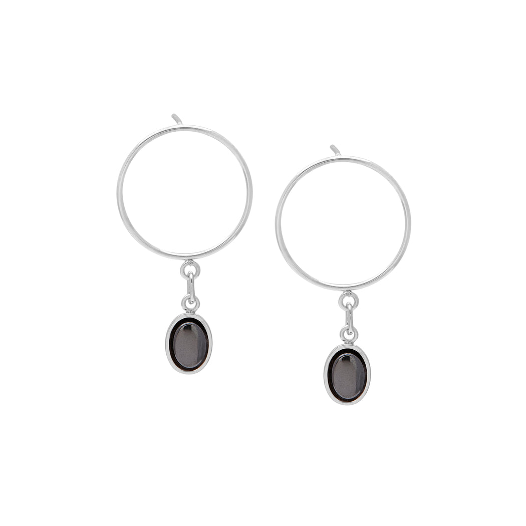 Drew Earrings - Oval Hematite