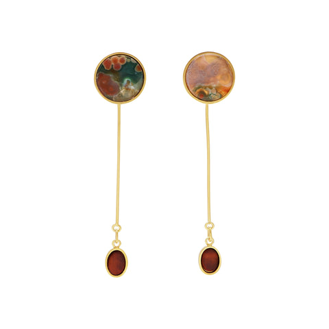 Darby Earrings - Ocean Jasper & Burnt Tiger's Eye