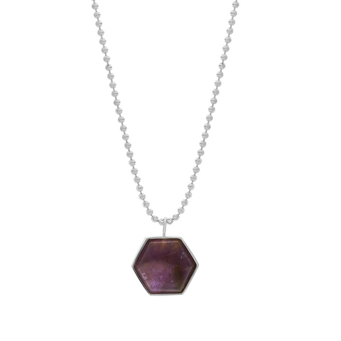 BECKHAM NECKLACE - HEXAGON AMETHYST