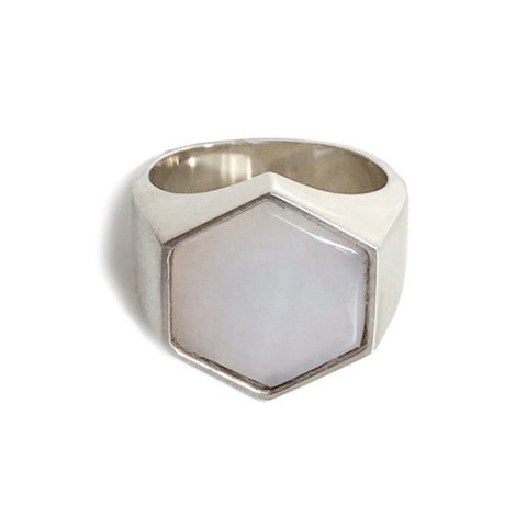 BECKHAM RING - WHITE AGATE