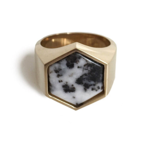 Beckham Ring - Black and White Jasper