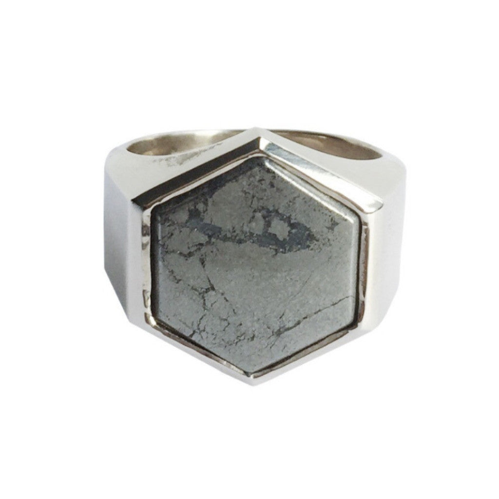 Beckham Ring, Sterling Silver set with Pyrite