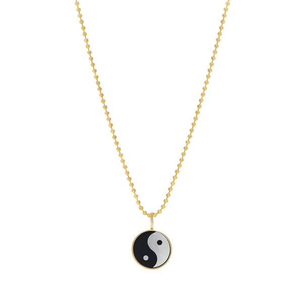 YIN YANG EVERETT NECKLACE - WHITE MOTHER OF PEARL/BLACK ONYX
