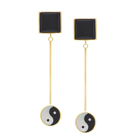 Yin Yang Eden Earrings - White Mother Of Pearl & Black Onyx