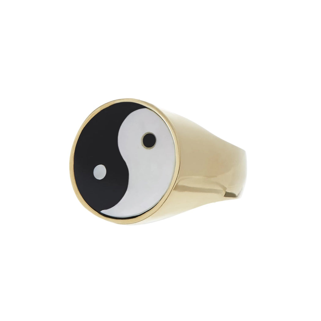 Yin Yang Everett Ring - White Mother of Pearl & Black Onyx