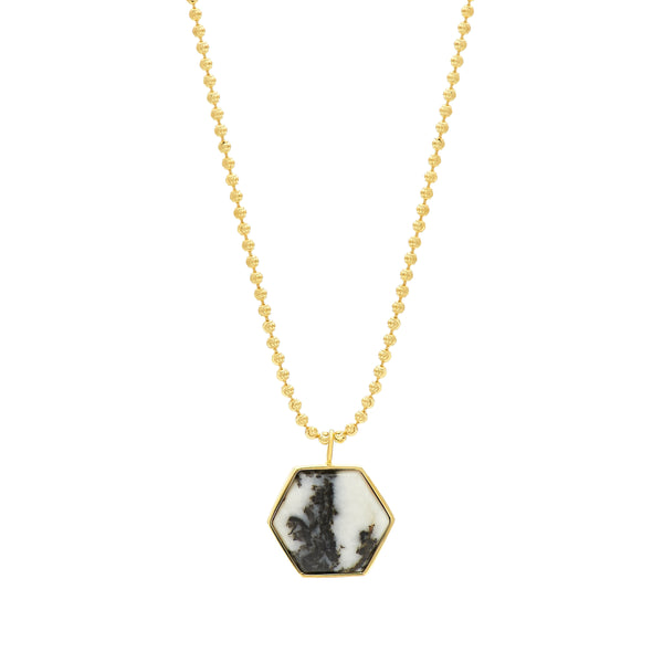 BECKHAM NECKLACE - BLACK AND WHITE JASPER