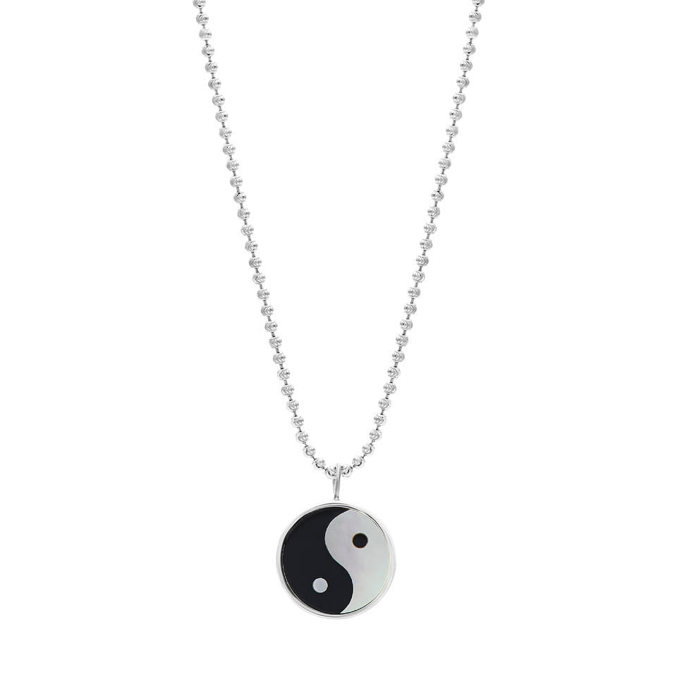 Yin Yang Everett Necklace - White Mother Of Pearl & Black Onyx