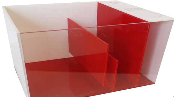 REF#: S120 - Red & White Sump w/Attached ATO (7 sizes available)