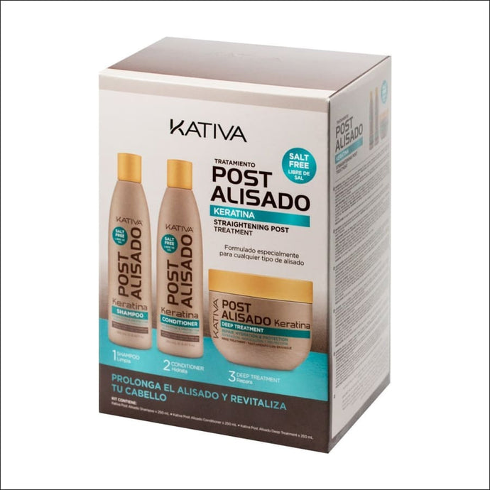 Kativa Keratina Kit Tratamiento Post Alisado 3 Productos - JAZZ PELU