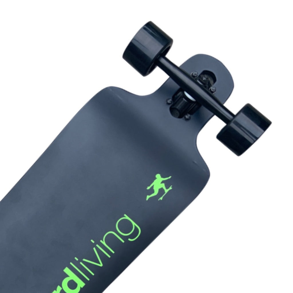 "38"" Longboard Living Double Drop - Matte Black + Lime Green"