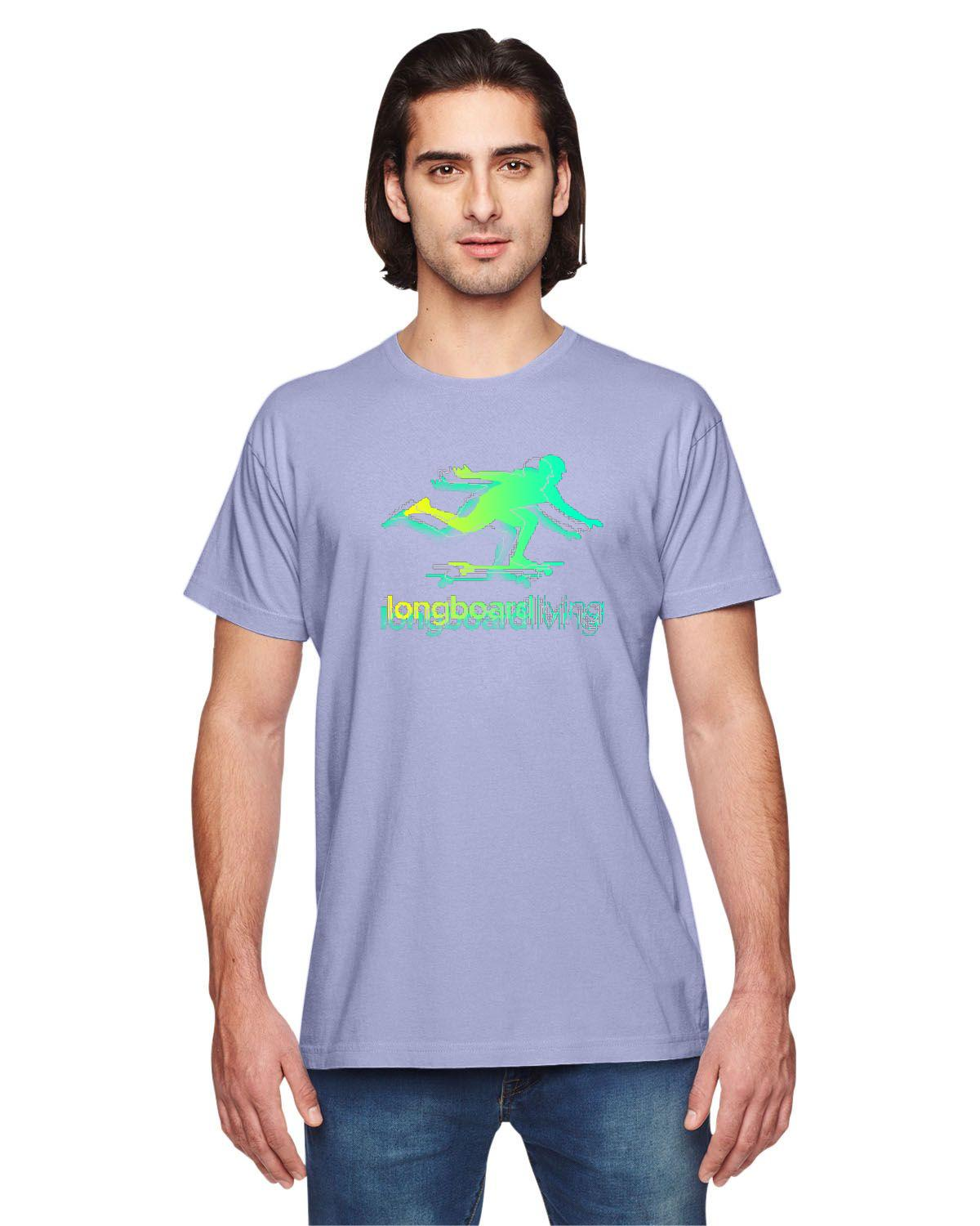 Longboard Living Stencil Shirt - Green / Yellow Fade