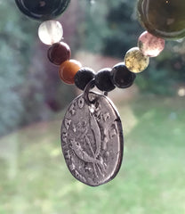 Roman silver coin necklace