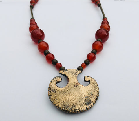 Roman mirror handle necklace