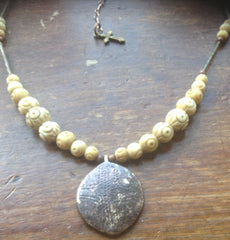 Medieval mirror lid necklace