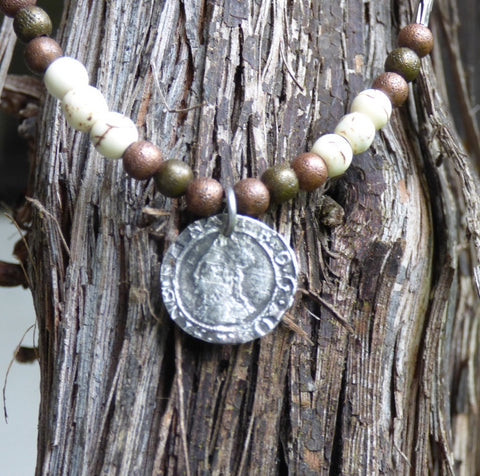 Tudor silver penny necklace