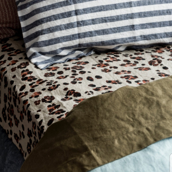 Leopard Print Fitted Sheet - King