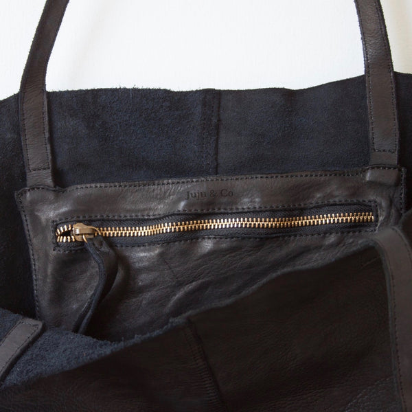 Unlined Leather Tote- Black