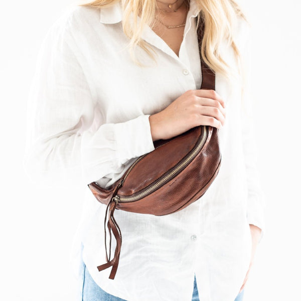 Leather Bumbag- Cognac
