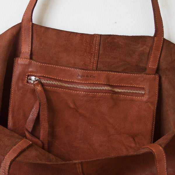 Unlined Leather Tote- Cognac