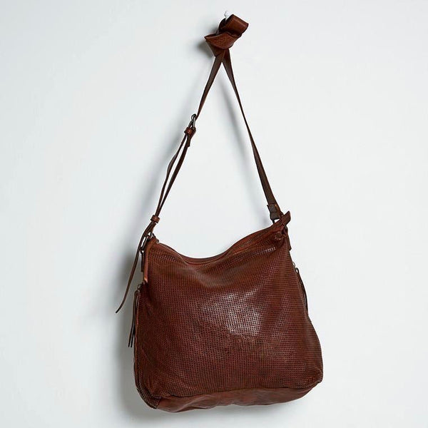 Perforated Leather Slouchy- Cognac
