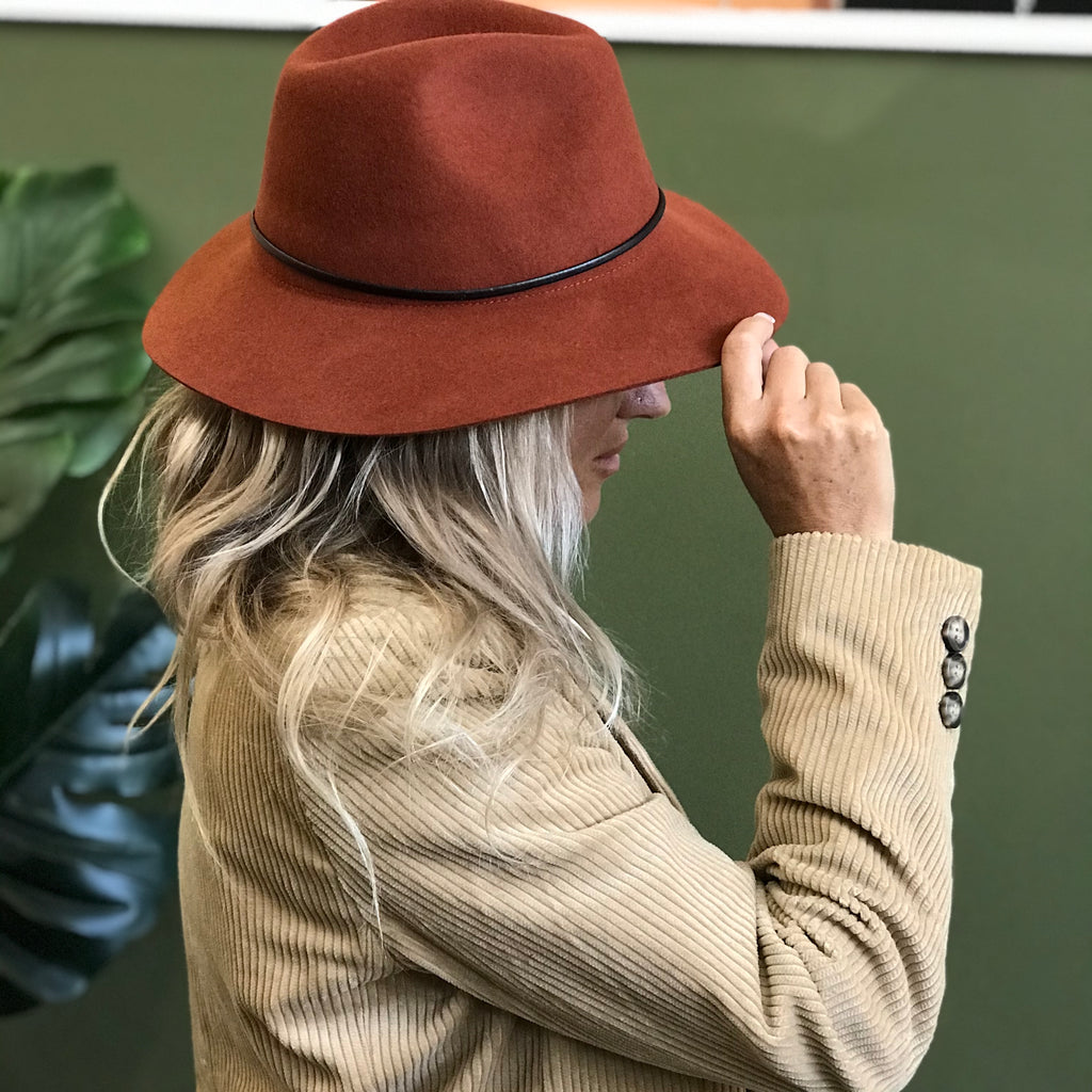 Panama Wool Hat - Terracotta
