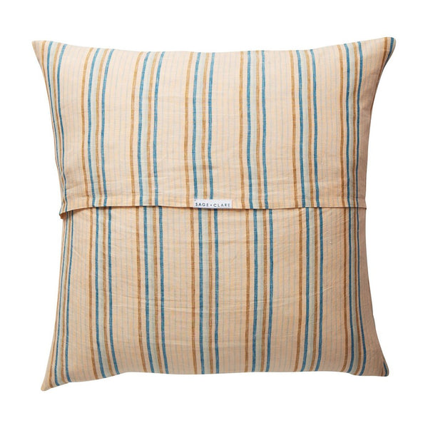 Lio Stripe Linen Euro Pillowcase Set - Turquoise