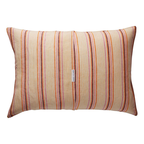 Lio Stripe Linen Pillowcase - Tangerine