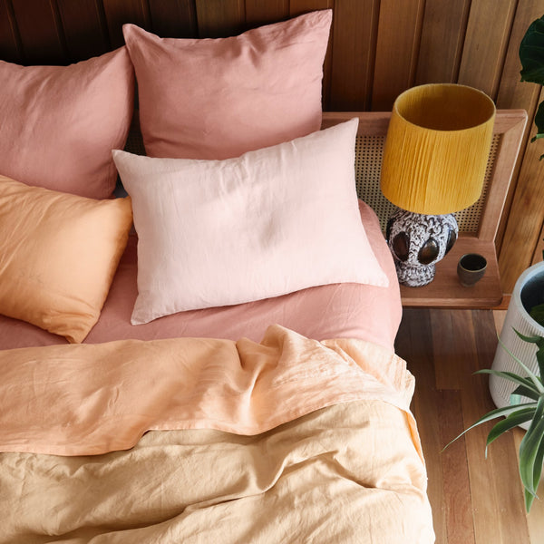 Linen Flat Sheet - King Peach Puff