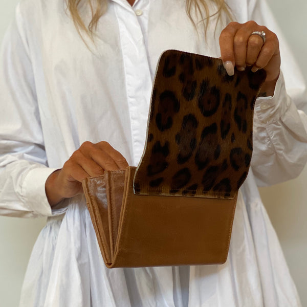 Flap Wallet - Tan Leopard