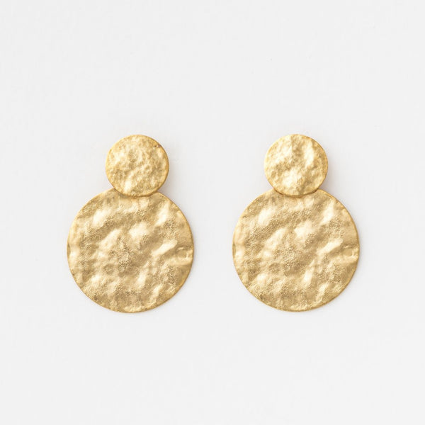 Beaten Discs Gold Earring