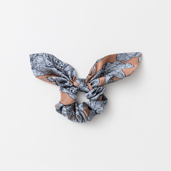 Scrunchie Tie - Peach Flowers