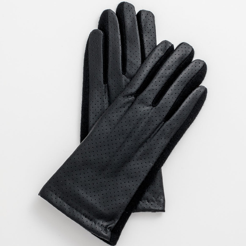 Leather Look Gloves - Black